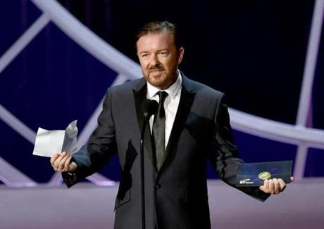 Ricky Gervais spoke onstage.