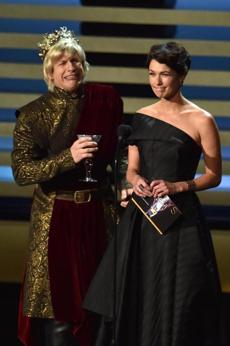 Andy Samberg, left, and Lena Headey spoke onstage.
