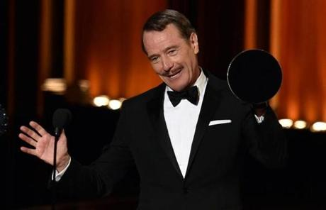 "Bryan Cranston accepted the award for outstanding lead actor in a drama series for his role in""Breaking Bad."""