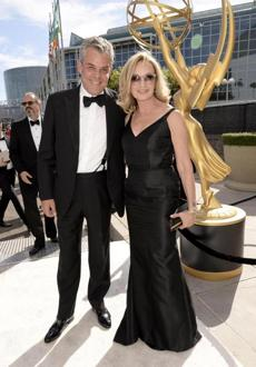 Danny Huston, left, and Jessica Lange arrived at the Emmy Awards. Lange won an award for lead actress, miniseries or TV movie.