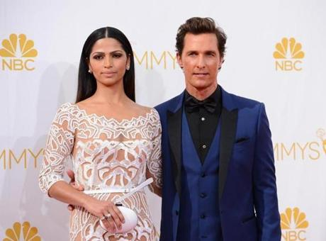 Camila Alves, left, and Matthew McConaughey arrived at the Emmys. McConaughey was nominated for his role in