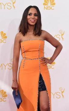 Actress Kerry Washington arrives on the red carpet for the 66th Emmy Awards, August 25, 2014 at Nokia Theatre in Los Angeles, California. AFP PHOTO / Frederic J. BrownFREDERIC J BROWN/AFP/Getty Images