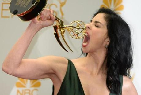 Sarah Silverman posed in the press room after winning the award for outstanding writing for a variety special for