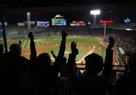 Red Sox fans at Fenway during Game 1 of the World Series in 2013.