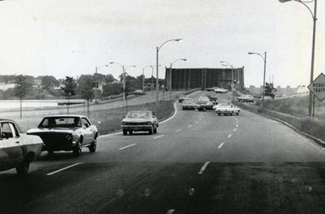 June 21 1976 / fromthearchive / Globe Staff photo by Edward Jenner / The then named Dorchester Bay Bridge at Morrissey Boulevard stayed open during the first Massachusetts state employees strike. Bridge tenders at drawbridges in Dorchester and on the North Shore left the bridges in the raised position as required by Federal law when they left their jobs at midnight.Cars were forced to turn around and come back the wrong way on the boulevard. Supervisory personnel later lowered the bridges.