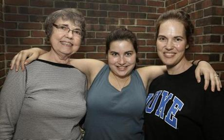 From left: Jill Loeffler of Hanover, Samantha Garland and her mother, Glenda,  both of Hingham.