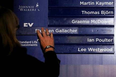 The names of Stephen Gallacher of Scotland, Ian Poulter of England and Lee Westwood of England are positioned in the final line-up.