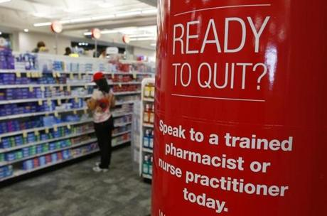 Boston, Massachusetts -- 09/03/2014-- Tobacco-free signage and literature are seen near the pharmacy at CVS in Boston, Massachusetts September 3, 2014. Jessica Rinaldi/Globe Staff Topic: 04cvs Reporter: