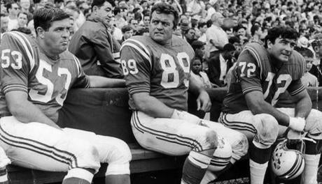 August 13 1967 / fromthearchive / Tom Addison, Bob Dee and Larry Eisenhauer didn't look happy with a 33 to 3 pre-season loss to the Baltimore Colts as the regulars waited for the game to end.