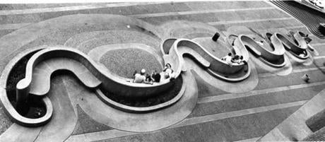The sinuous shapes of Rudolph's Government Service Center were meant as an inviting contrast to the flat expanse of nearby City Hall Plaza.