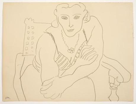 "Mount Holyoke College Art Museum Matisse Drawings: Curated by Ellsworth Kelly from The Pierre and Tana Matisse Foundation Collection 30 August - 14 December 2014 Henri Matisse, Femme en fauteuil (Woman in a chair), 1935, pencil on paper. All images should be credited as follows: ""Courtesy The Tana and Pierre Matisse Foundation, Images © 2014, Succession H. Matisse/Artist Rights Society (ARS), New York. 07matisse"