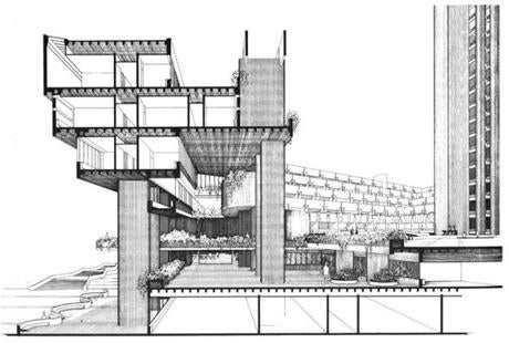 A cross-section drawing of the mental health building; the tower at right was never completed.