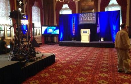 Maura Healey primary party location was empty