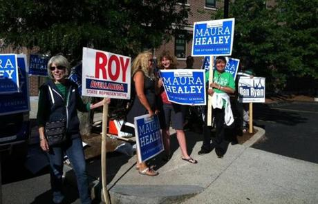 Maura Healey backers were among those showing their support in Charlestown.