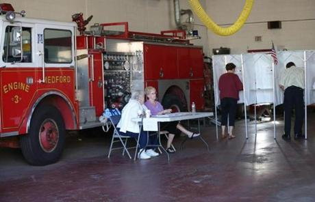 At the Medford fire station on Harvard Avenue, voters were trickling in this morning.