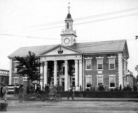 September 18 1929 / fromthearchive / Boston Globe Archive photo / The Vermont State Building was dedicated at the Eastern States Exposition in Springfield. Governor Weeks of Vermont and native ex-President Calvin Coolidge attended the dedication. The building had a granite foundation, marble trimmings and a slated roof, quarried in the hills of the Green Mountain state.