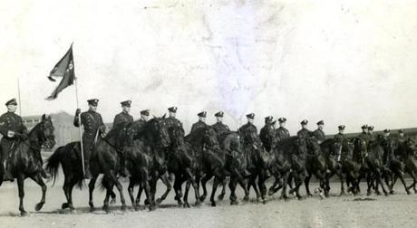 October 22 1929 / fromthearchive / Boston Globe Archive photo / Boston Mounted Police prepared for their participation in the Boston Horse Show held at Boston Garden. Their performance under the direction of Sergeant Cain of Station 16 aroused burst after burst of applause as the mounted riders did all the military movements that marching columns can do and did them well.