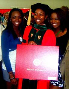 The sisters at Ebonie's 2010 graduation from medical school; Lejae at right, Yorkela left.
