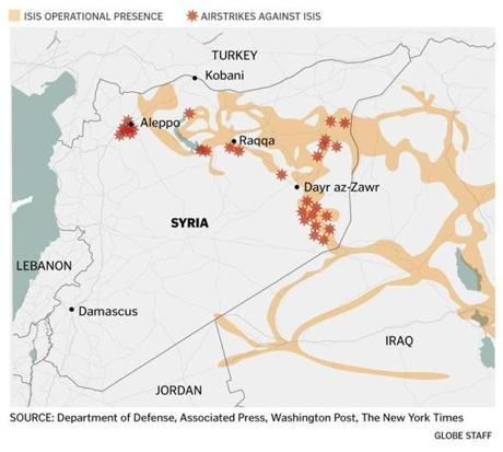 A map of the airstrikes against ISIS in Syria.