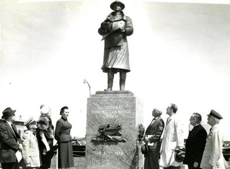 May 20 1956 / fromthearchive / Boston Globe Staff photo by Laurence T. Welsh / The statue of Lt. Gen. Edward L. Logan, for whom the the airport was renamed, was dedicated at Logan International Airport. Logan commanded the 9th Infantry Regiment as a colonel in World War I. He became commander of the Yankee Division in 1923 and in 1928 was promoted to Lieutenant General. The eight foot high bronze had scenes symbolizing patriotism, justice, faith and fortitude. Joseph A. Coletti, a native of Quincy, was the sculptor.