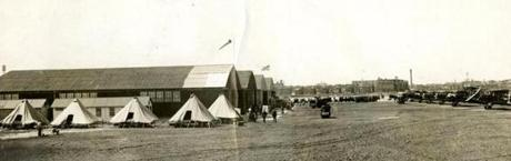 August 18 1935 / fromthearchive / Boston Globe Archive photo / The Massachusetts National Guard ground detail took part in exercises at the Boston Airport. For the field inspection, the men pitched their pup tents in camp formation, and placed their equipment and blankets in front of the tents as the inspecting officers passed by.