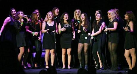 Chordially Yours, an all-female a cappella group from Boston University, opened for Lena Dunham at the Wilbur Theatre.