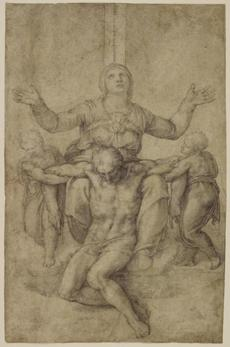 Michelangelo, Piet�, about 1538-1544, black chalk on paper 26donatello CUTLINE: Michelangelo, Piet�, about 1538-1544, Isabella Stewart Gardner Museum, Boston.
