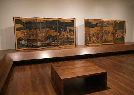 CAMBRIDGE MA - 10/23/2014: The Feinberg panel in gallery :Anonymous, Portuguese Arrive in Japan, Japanese, Edo period, early 17th century. One of a pair of six-panel folding screens; ink, color, and gold leaf on paper. Harvard Art Museums/Arthur M. Sackler Museum, A Portuguese Trading Ship Arrives in Japan Japanese, Edo period, probably Kan'ei era, 1624–1644 Pair of six-panel folding screens; ink, color, and gold on paper Arthur M. Sackler MuseumFogg Museum, the opening of the new Harvard Arts Museums complex after a $350 million dollar renovation/expansion designed by Renzo Piano. (David L Ryan/Globe Staff Photo) SECTION: ARTS TOPIC 02harvardartreview(1)