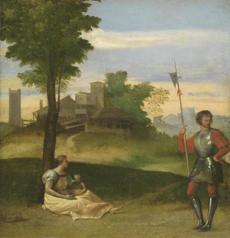 Harvard Art Museums Attributed to Titian (Tiziano Vecellio), An Idyll: A Mother and a Halberdier in a Wooded Landscape, c. 1505-10. Oil on panel. Harvard Art Museums/Fogg Museum, Kate, Maurice R., and Melvin Seiden Special Purchase Fund in honor of Konrad Oberhuber and Sydney Freedberg, Richard Norton Memorial Fund, and Richard Norton Fund, 2007.106. Photo: Harvard Art Museums, © President and Fellows of Harvard College. (53556) -- 02HarvardArtReview
