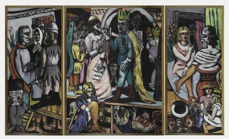 Harvard Art Museums Max Beckmann, German (1884-1950), The Actors, 1941-42. Oil on canvas. Harvard Art Museums/Fogg Museum, Gift of Lois Orswell, 1955.174.A-C. © Artists Rights Society (ARS), New York / VG Bild-Kunst, Bonn. (DDC251690 restored frame; 78637 black frame) -- 02HarvardArtReview