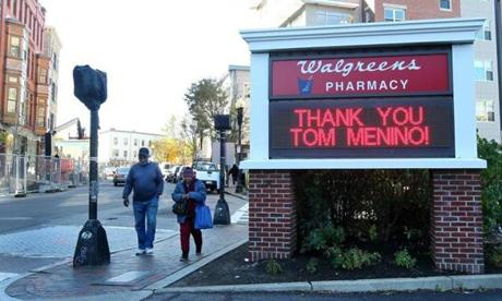 The sign at the Walgreens in Dudley Square had a message for former Mayor Thomas M. Menino.