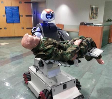 A prototype medical robot from Hstar Technologies of Cambridge can lift and carry patients.