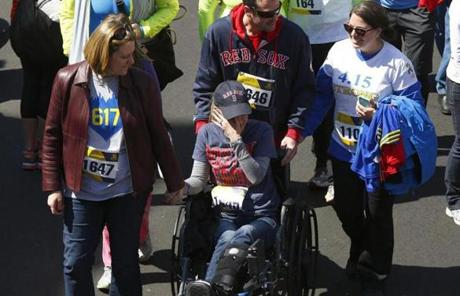 Rebekah Gregory DiMartin crossed the finish line of the Boston Marathon on April 19, 2014.