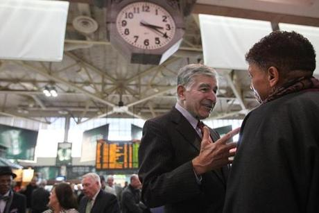 Former Governor Michael Dukakis spoke to Beverly Scott, general manager of the MBTA.