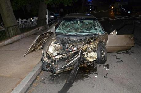 Briana O'Neill's car, which was hit by Boston Police Officer Richard Jeanetti in Hyde Park in 2012.