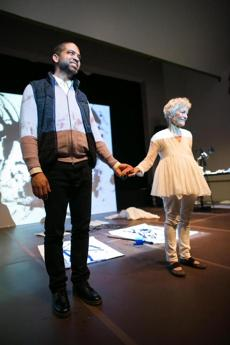 "Jason Moran and Joan Jonas, after a performance of ""Reanimation"" at the MFA."