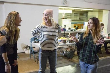 "American Repertory Theater "" O.P.C."" Rehearsal photo. Pictured: L-R: Pesha Rudnick, Kate Mulligan, Olivia Thirlby Photo credit: Gretjen Helene Photography -- 28OPC"