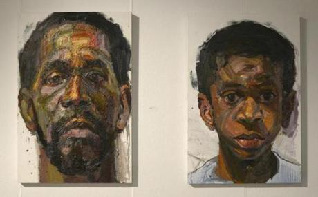 "Convergence: 60th Anniversary Alumni Exhibition at Boston UniversityÕs 808 Gallery. Sedrick Huckaby, ""Texas Dad"" and ""Rising Son,"" oil on canvas. Photo courtesy of the artist -- 03Galler"