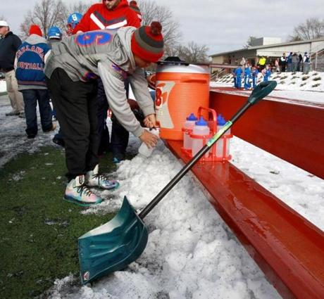 A snow shovel was part of the equipment on the Somerville sideline.
