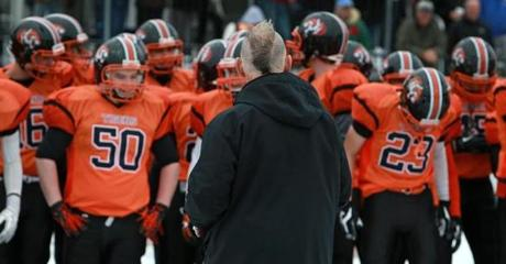 Peter Capodilupo shaved his hair into a mohawk for his final game as Newton North's head coach.