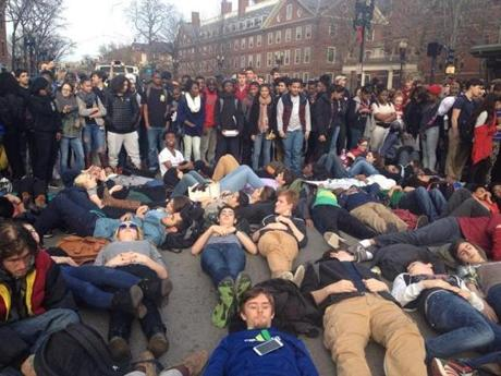 Dozens lay in the center of Massachusetts Avenue.