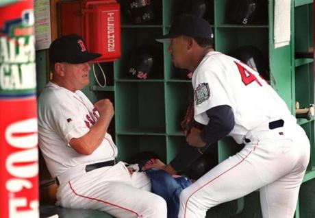 Pedro Martinez argues his case with manager Jimmy Williams in the dugout prior to a game on Aug. 14, 1999 at Fenway Park. Williams wouldn't let Martinez start because he was late and hadn't had time to properly warm up.