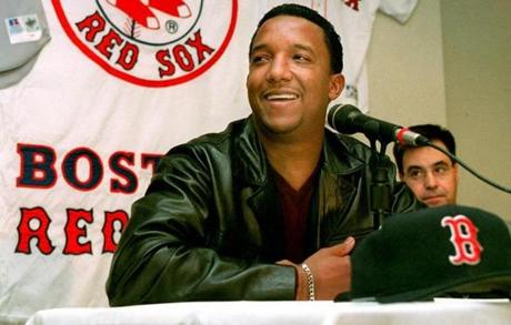 Pedro Martinez smiles on the day he was voted the American League Cy Young winner on Nov. 11, 2000.
