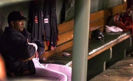 Pedro Martinez sat alone in the dugout with his thoughts for quite a long time following the final out of the Red Sox 3-2 loss to the Blue Jays on May 23, 2000.
