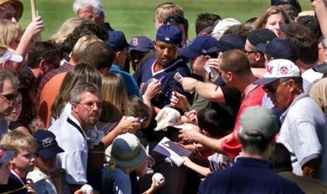 Pedro Martinez made an appearance on the first day of spring training on Feb. 22, 2001, in Ft. Myers, Fla. He looked like a rock star, as he tried to make his way to the clubhouse from the field, through the mobs of adoring fans.