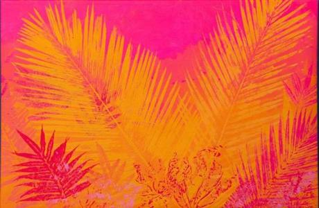"""Palms on Fuchsia and Orange,"" by Carlos Hernández Chávez."