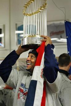 Pedro Martinez celebrates sweeping the St. Louis Cardinals in the 2004 World Series.