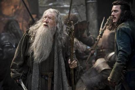 Ian McKellen and Luke Evans in the 2014 film THE HOBBIT: THE BATTLE OF THE FIVE ARMIES, directed by Peter Jackson.