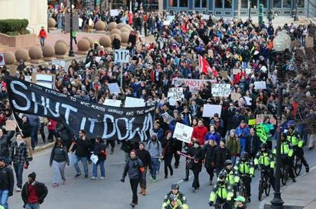 An estimated 1,000 people joined the march in downtown Boston.