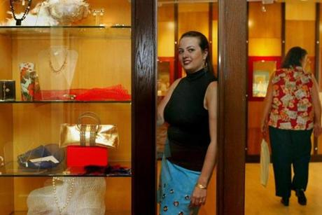 Boston, MA-7/30/04- Margarita Druker, owner of Persona, a new jewelry & notions store inside the Hotel Commonwealth. Library Tag 08052004 Calendar 011115BOSTNSHOPPING